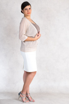 Everyday Elegance Light and Shining Short Cardigan in Beige