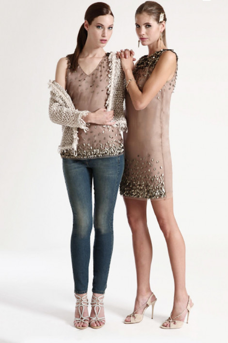 Shining Little Leaves Sequined Dress in Brown
