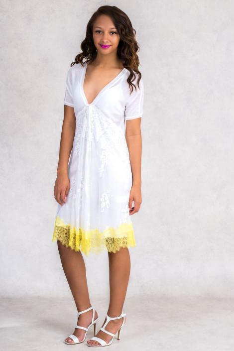 Face of Femininity Fringe Hem Designer Lace Dress