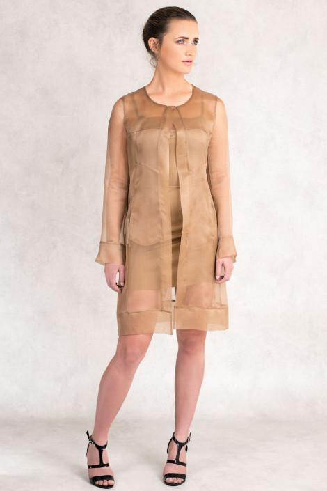 Diana Chic Long Silk Coat in Sienna Brown