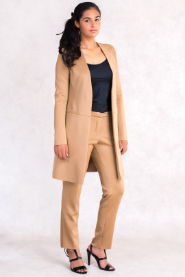 Wardrobe Essential Long Jacket in Brown