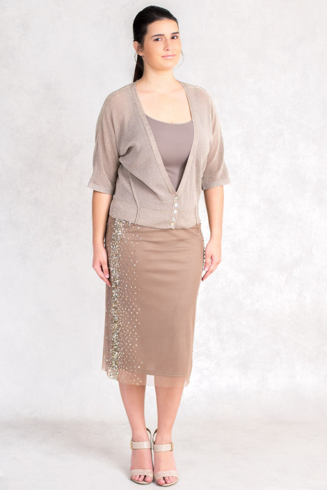Everyday Elegance Light and Shining Short Cardigan in Brown