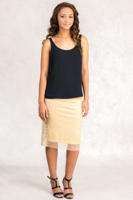 New Pearl in Town Sequined Lace Skirt in Beige