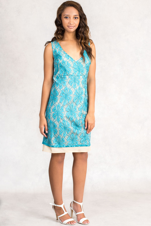 SISTE'S Light Sea Green Lace Dress - CLADDIO