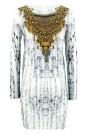 Gold Necklace Printed Dress Set