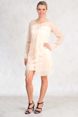 Diana Chic Long Silk Coat Quartz Beige
