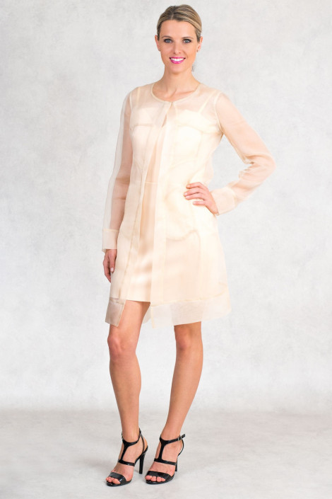 Diana Chic Long Silk Coat Quartz Beige