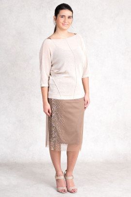 New Pearl in Town Sequined Lace Skirt in Brown