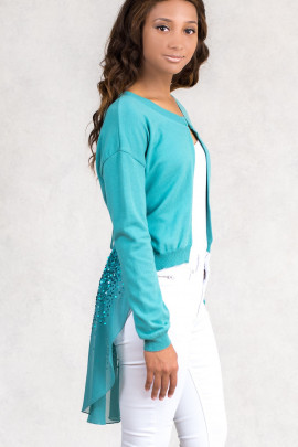 A Bit Of Charming Glitter Sequin Cardigan In Green