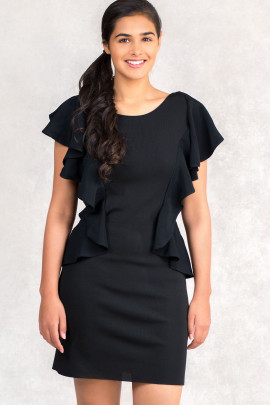 From Office To Outing Bodycon Dress With Frills In Black