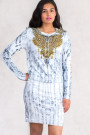 Gold Necklace Printed Dress Set