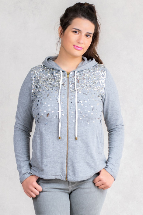 More By Siste's Cotton Sequined Cotton Hoodie In Grey
