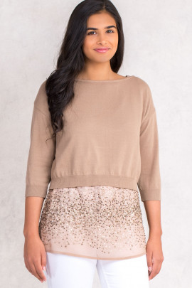 Sequined Top Twin Set With Short Cotton Jumper In Brown