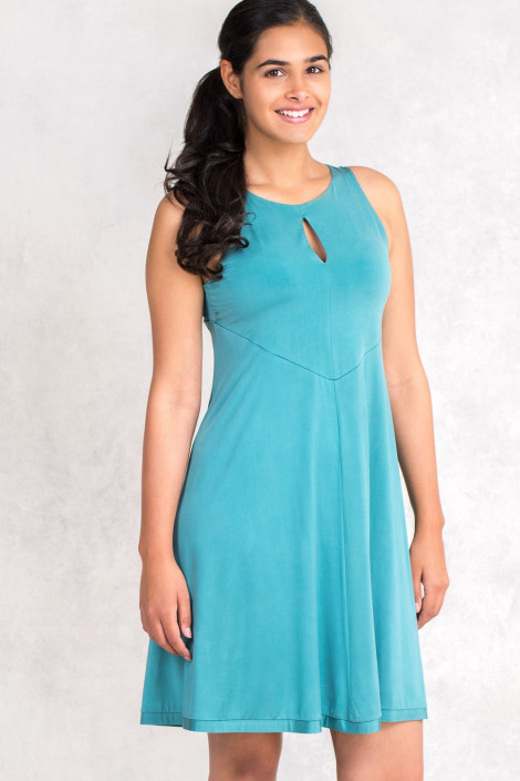Opaque Turquoise Sleevless Dress by Siste's