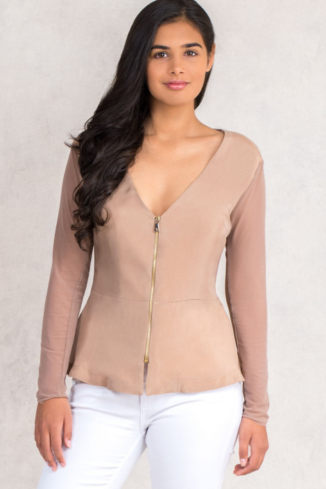 Siste's Cupro Jacket With Sheer Sleeves And Back