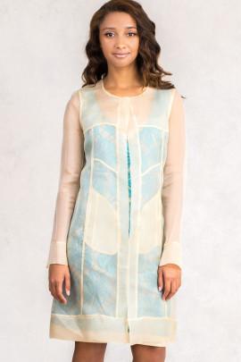 Diana Chic Long Silk Coat In Beige