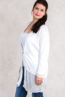 It's All for You Cotton Sequined Cardigan in White