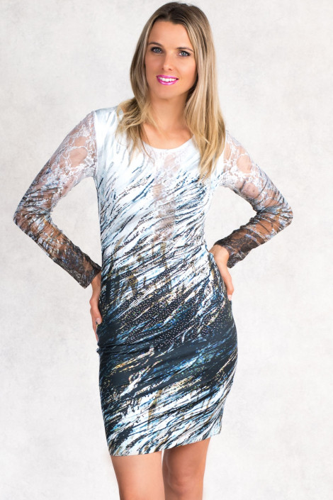Enchanted Forest Bodycon Dress With Lace Sleeves