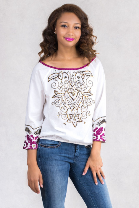 Chic Embroidery Cotton Sequinned Blouse