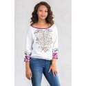 SISTE'S Chic Embroidery Cotton Sequinned Blouse