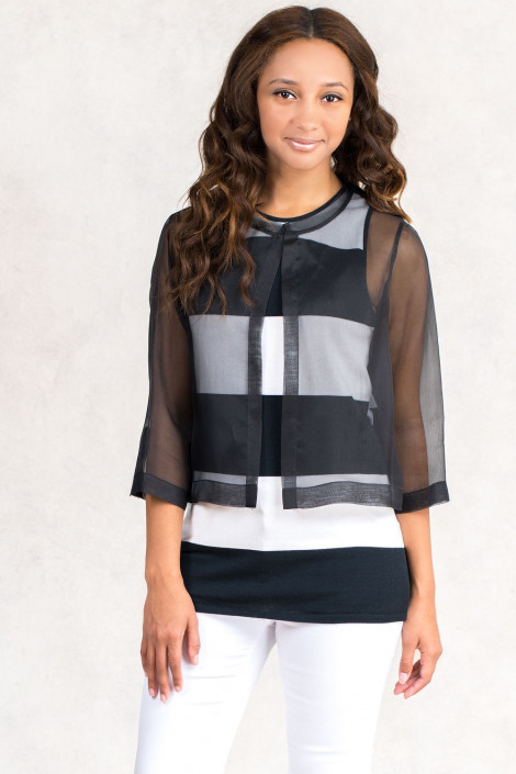 Cotton Top Twin Set with Silk Coat in Black & White