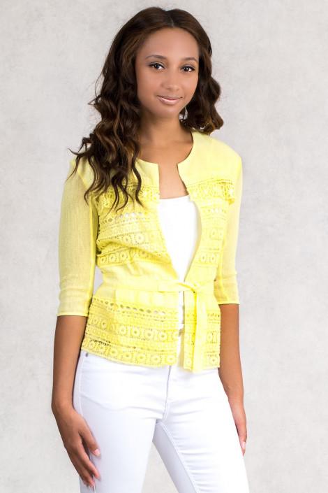 Lovely Romantic Linen Jacket in Yellow