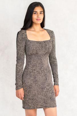 Leopard Print Bodycon Dress With Metal Embellishments