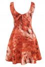 Red on White Modern Print Open Back Cotton Dress