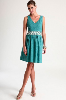 Sheered Bodice Cotton Hollow-Out Dress