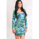 Fairy Dreams Print Dress in Shades of Green