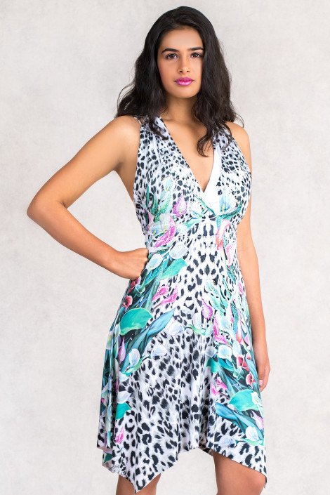 Fit & Flare Printed Sleevless Dress in Grey