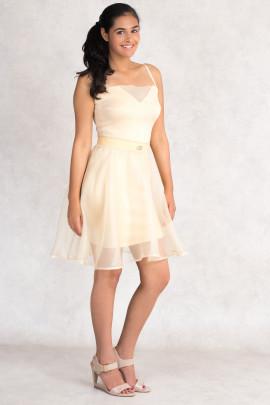 Diana Chic Slip Dress with Silk Skirt in Quartz Beige