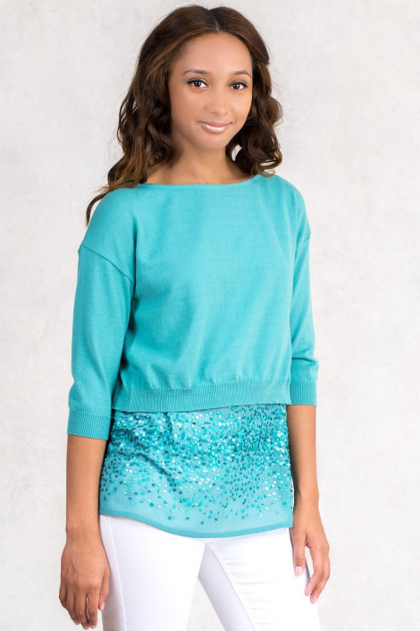 Sequin Top Twin Set With Short Cotton Jumper In Green