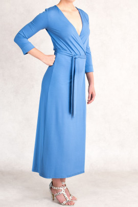 Style at Work Jersey Wrap Dress in Blue