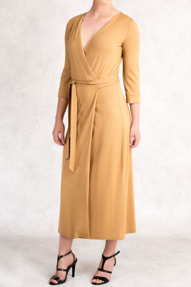 Style at Work Jersey Wrap Dress in Brown