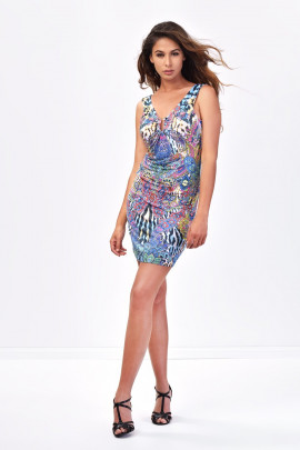 Ready And Able Colourful Print Dress in Blue