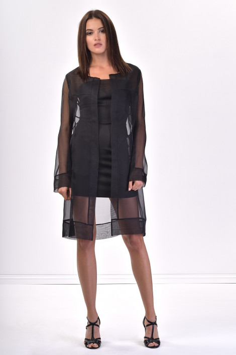 Diana Chic Long Silk Coat Black