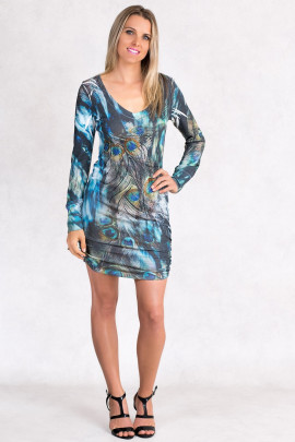 Fairy Dreams Print Dress in Shades of Grey
