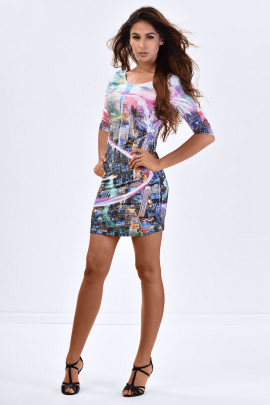 Blue City Exquisite Digital Print Bodycon Dress