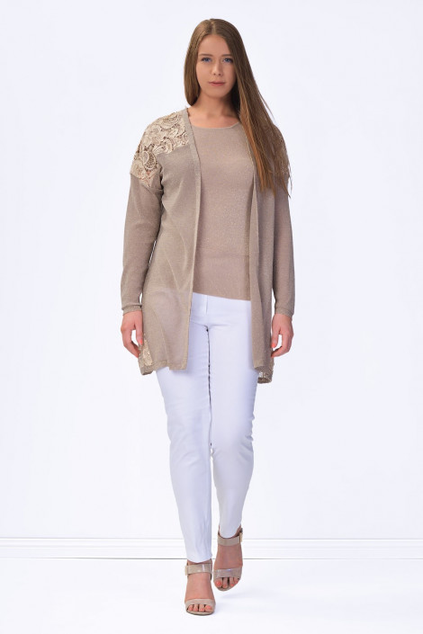 Everyday Elegance Lace Cardigan in Shining Brown