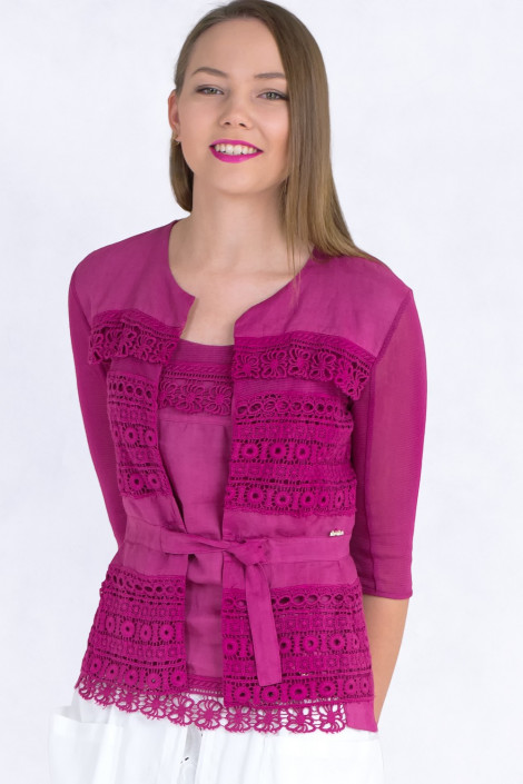 Lovely Romantic Linen Jacket In Pink Color