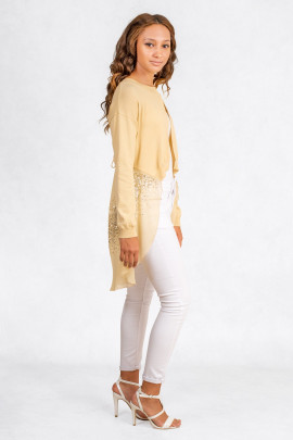 A Bit Of Charming Glitter Sequin Cardigan In Beige