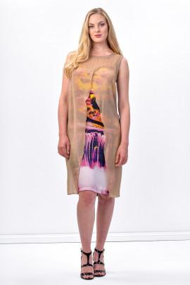 Glowing Waterfall Printed Dress Silk Decorated