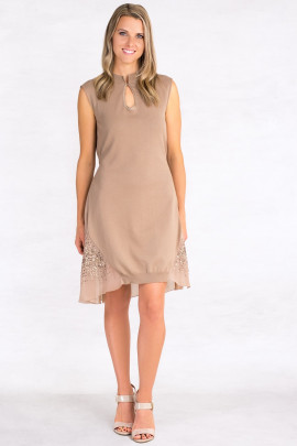 Exquisite Designer Cotton Sequin Dress in Brown