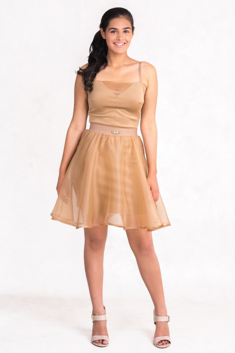 Diana Chic Slip Dress with Silk Skirt in Brown