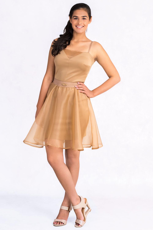 Diana Chic Slip Dress With Silk Skirt In Brown Claddio