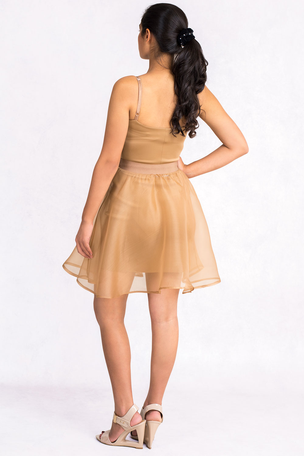 Diana Chic Slip Dress With Silk Skirt In Brown Claddio