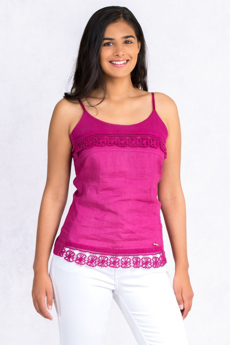 Lovely Romantic Linen Top In Pink
