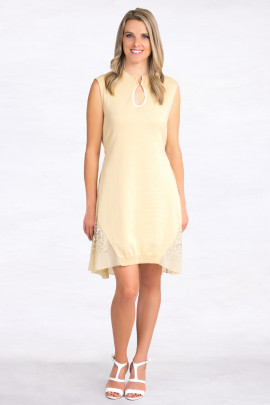 Exquisite Designer Cotton Sequin Dress In Beige