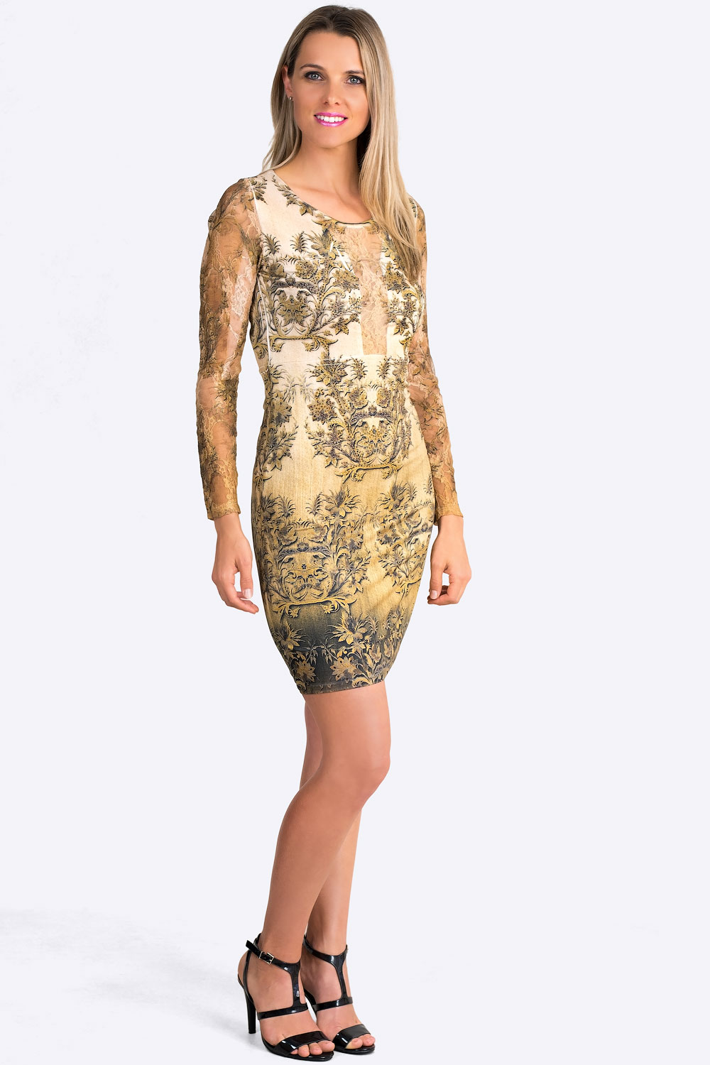 Antique Gold Print Dress With Lace Sleeves Claddio